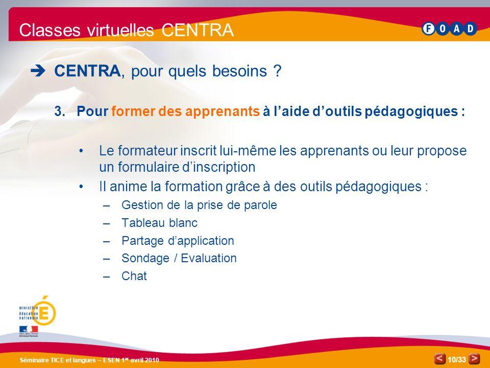 Classes virtuelles CENTRA