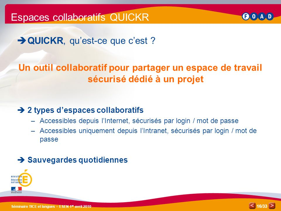 Espaces collaboratifs QUICKR