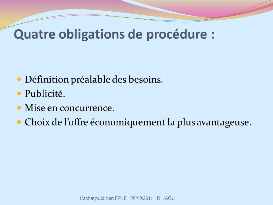Quatre obligations de procédure :