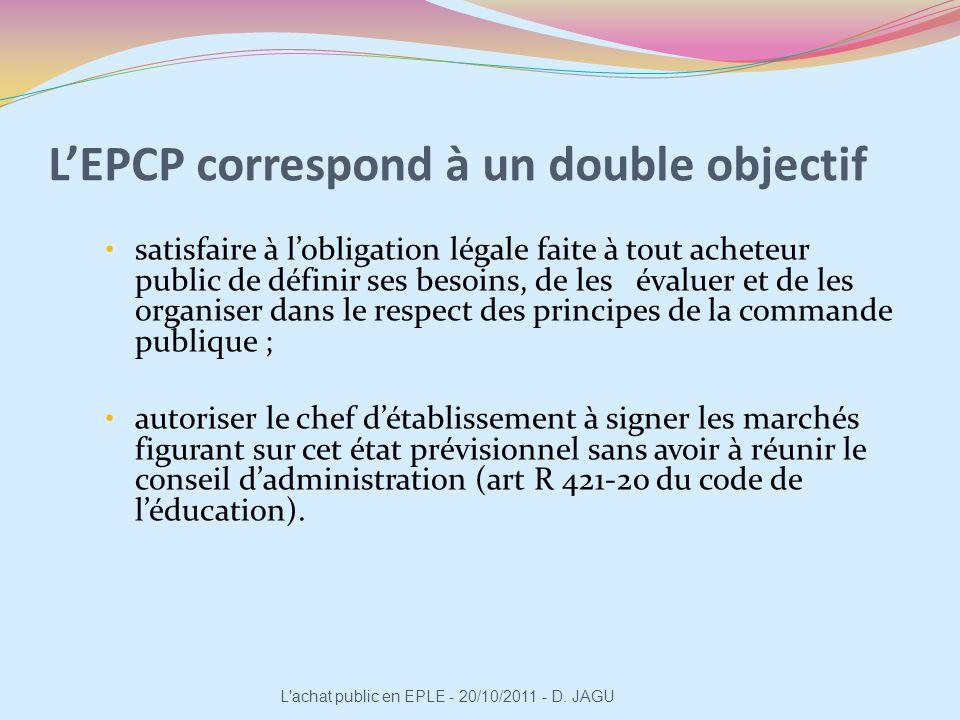 L'EPCP correspond à un double objectif