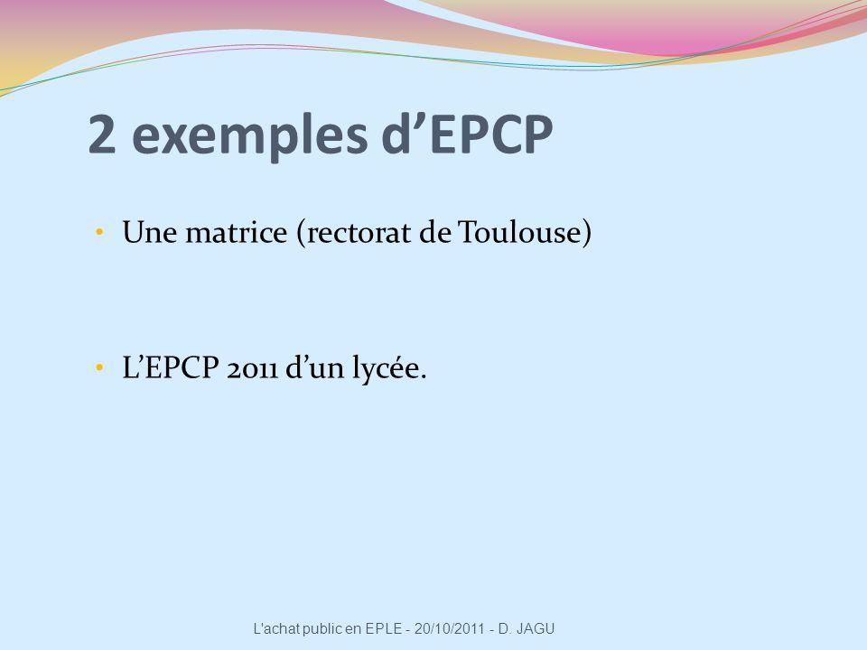 2 exemples d'EPCP Une matrice (rectorat de Toulouse)