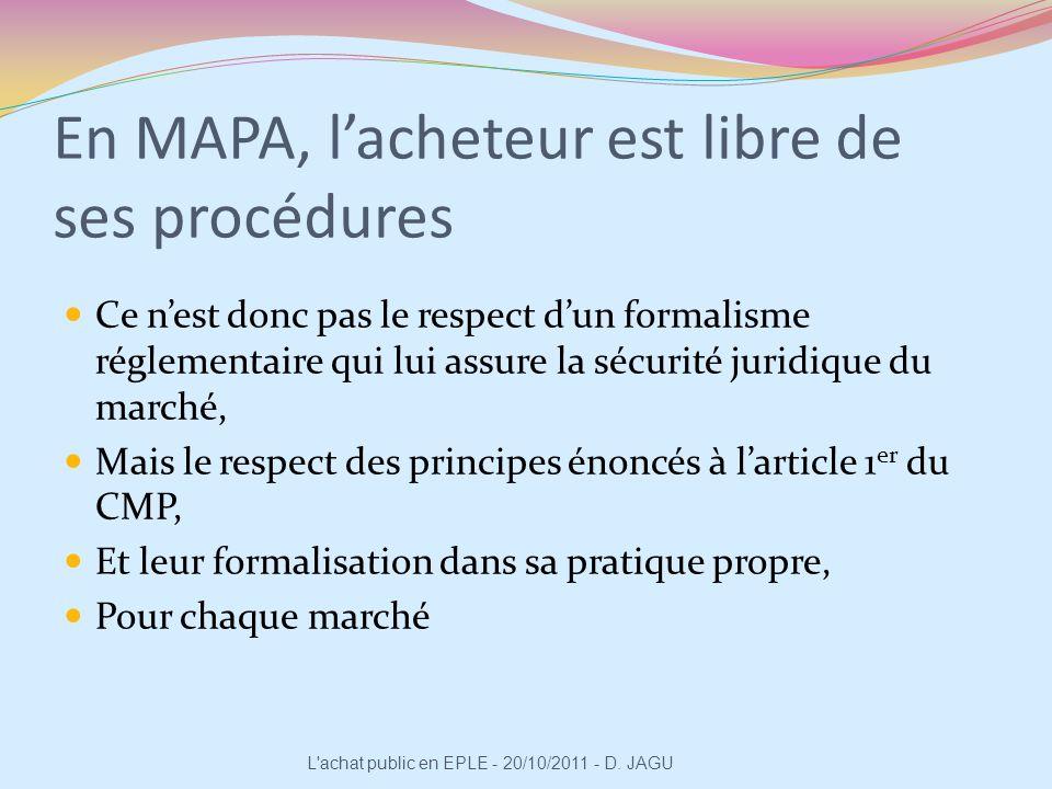 En MAPA, l'acheteur est libre de ses procédures