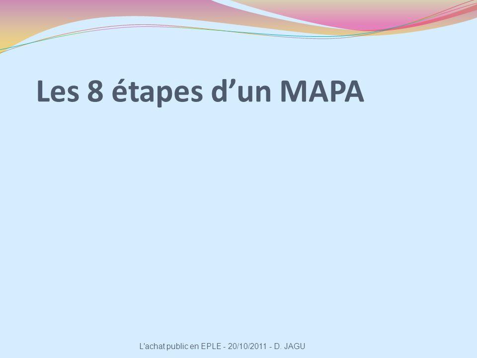 Les 8 étapes d'un MAPA L achat public en EPLE - 20/10/2011 - D. JAGU