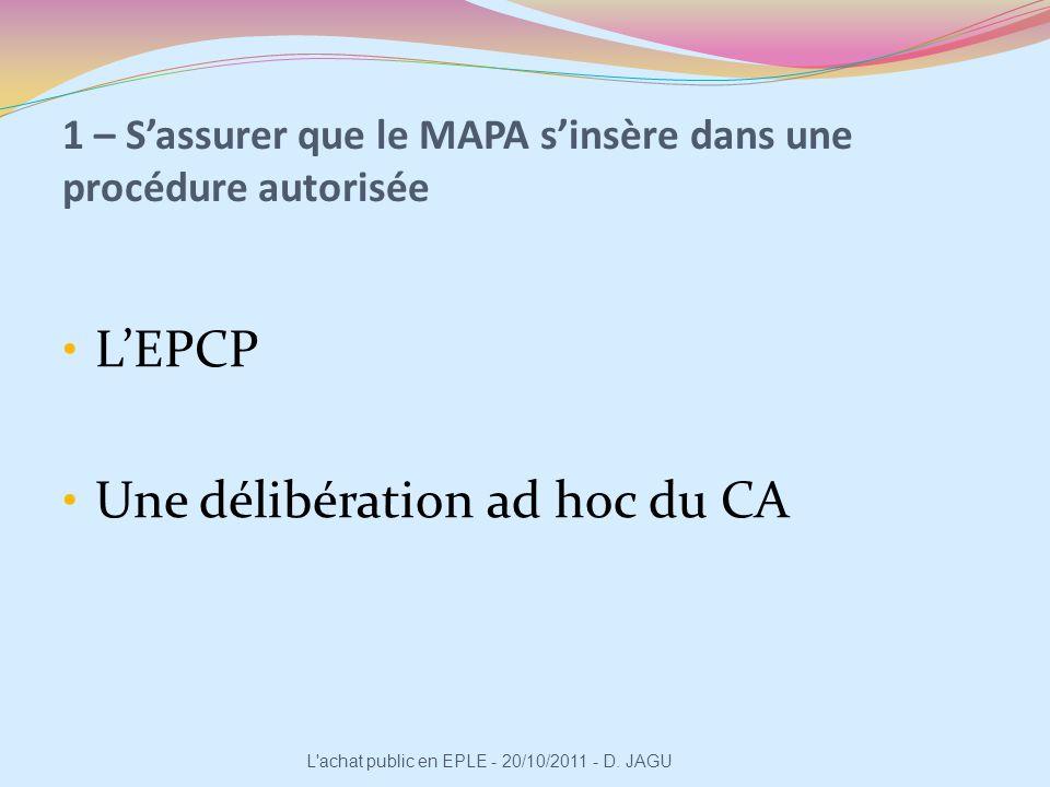 1 – S'assurer que le MAPA s'insère dans une procédure autorisée
