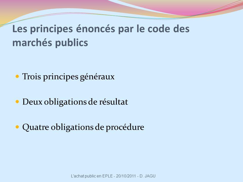 Les principes énoncés par le code des marchés publics