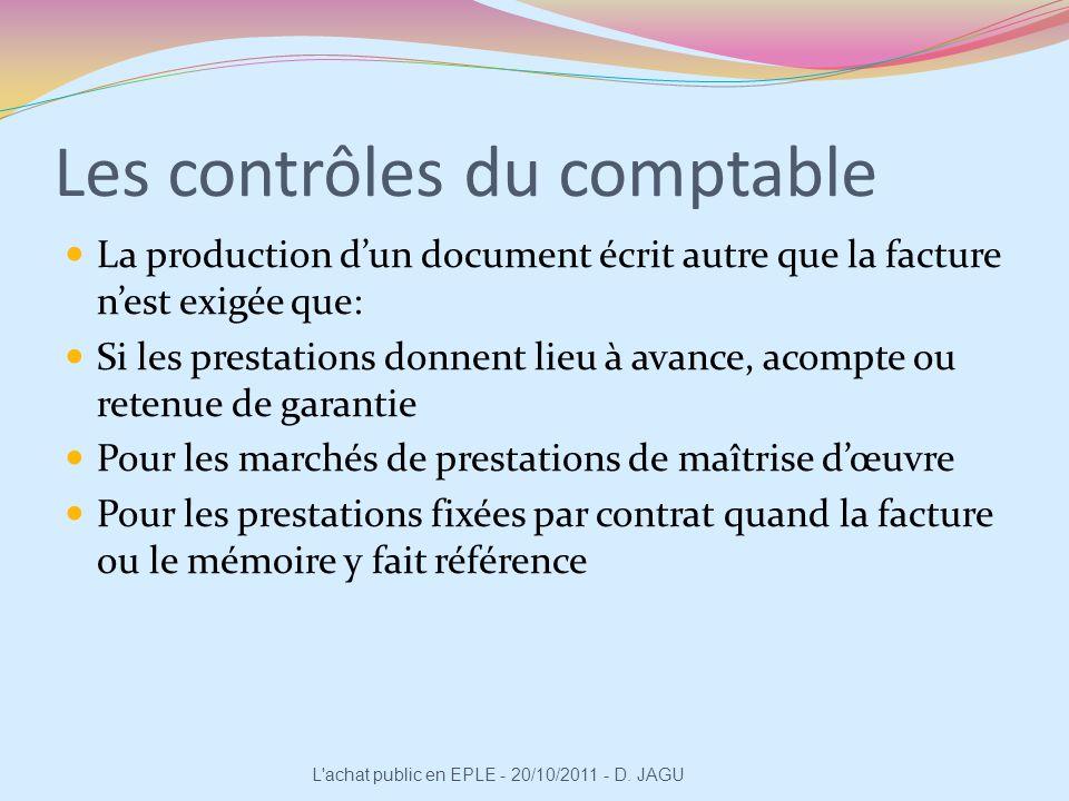 Les contrôles du comptable