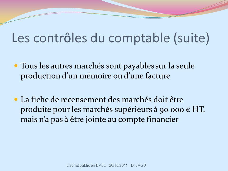 Les contrôles du comptable (suite)