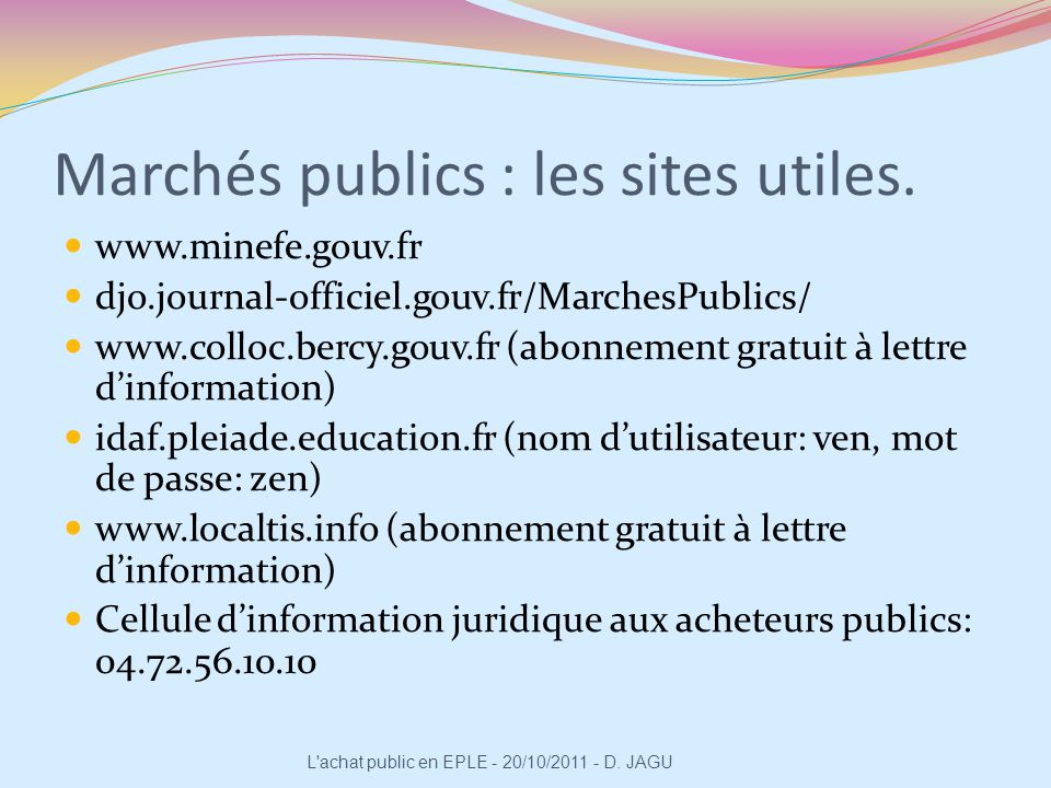 Marchés publics : les sites utiles.