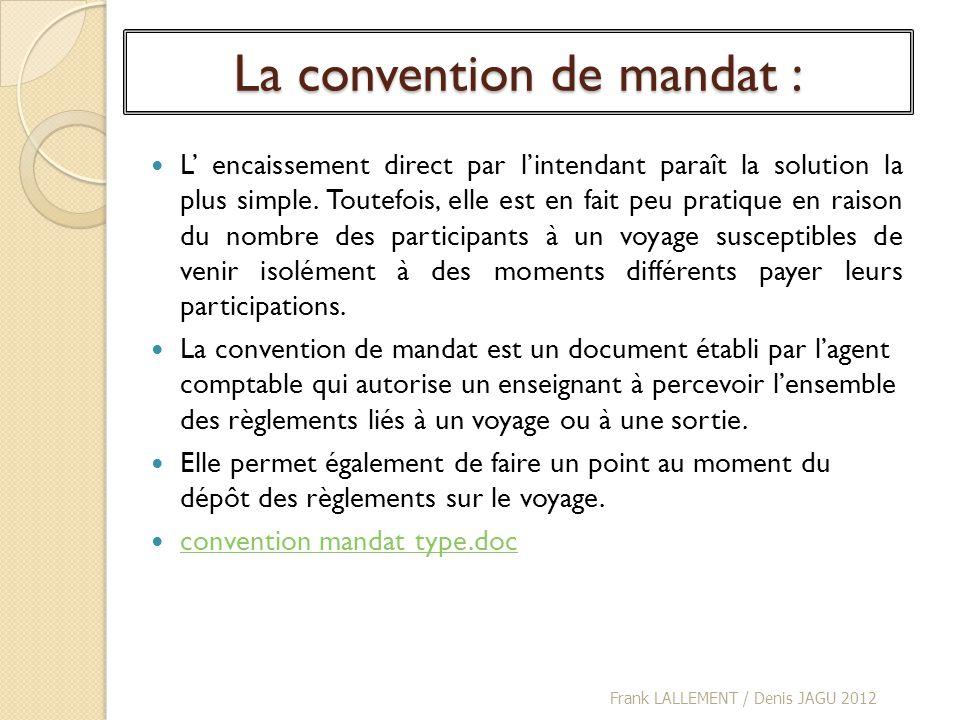 La convention de mandat :