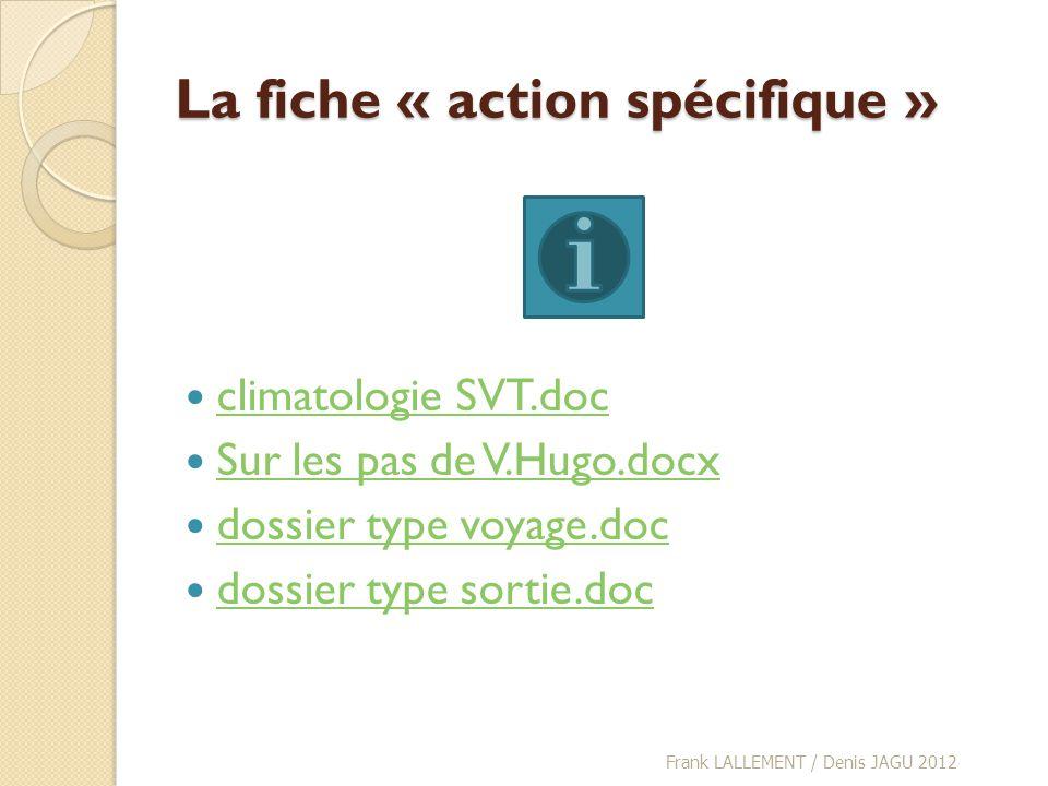 La fiche « action spécifique »