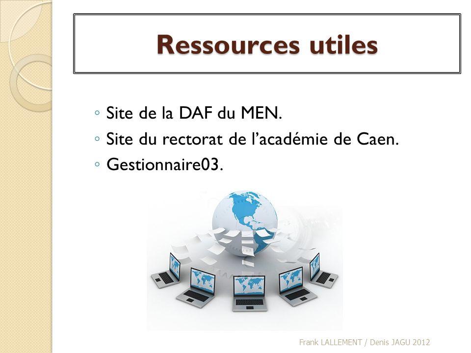 Ressources utiles Site de la DAF du MEN.