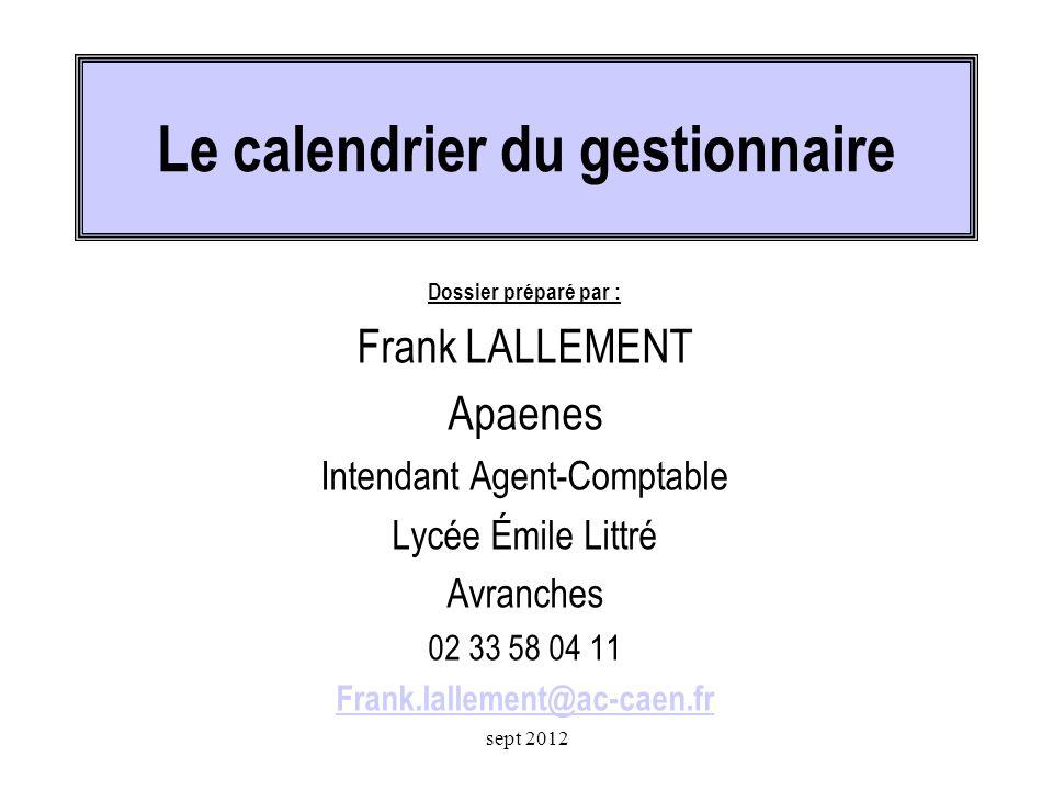 Le calendrier du gestionnaire