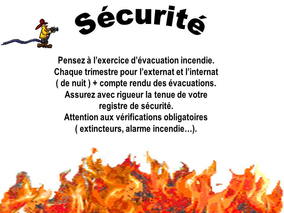 Sécurité Pensez à l'exercice d'évacuation incendie.