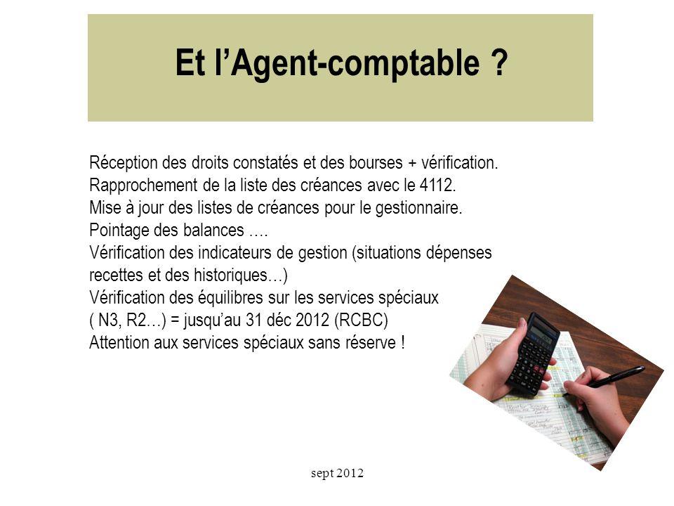 Et l'Agent-comptable Réception des droits constatés et des bourses + vérification. Rapprochement de la liste des créances avec le 4112.