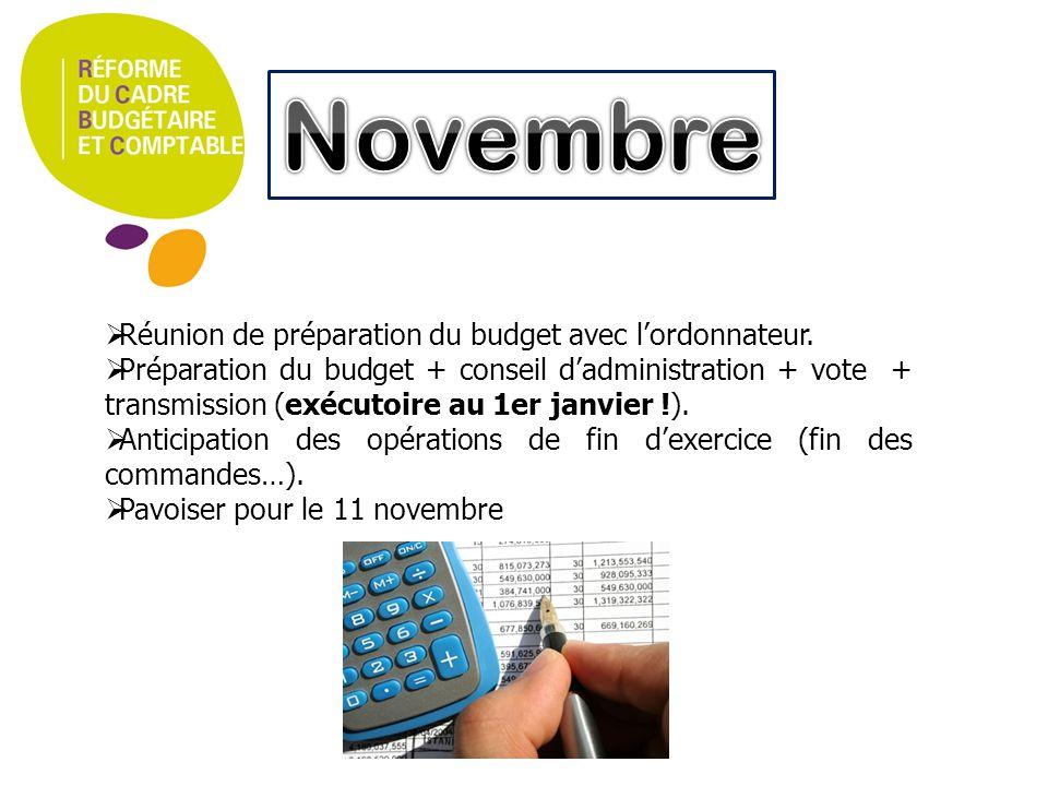 Novembre Réunion de préparation du budget avec l'ordonnateur.