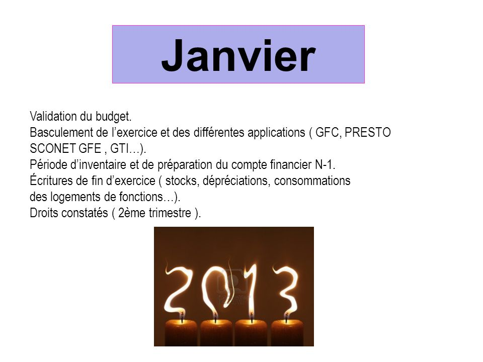 Janvier Validation du budget.