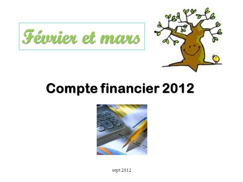 Février et mars Compte financier 2012 sept 2012