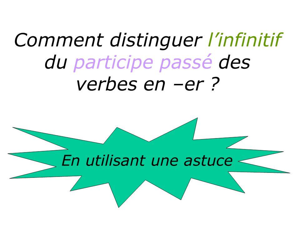 Comment distinguer l'infinitif du participe passé des verbes en –er