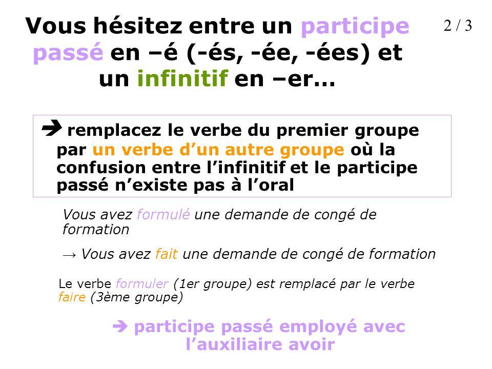 Vous hésitez entre un participe passé en –é (-és, -ée, -ées) et un infinitif en –er…