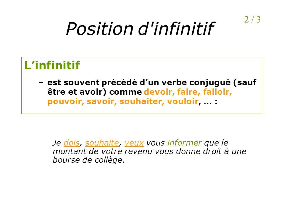 Position d infinitif L'infinitif 2 / 3