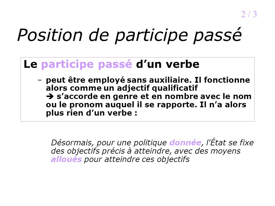 Position de participe passé