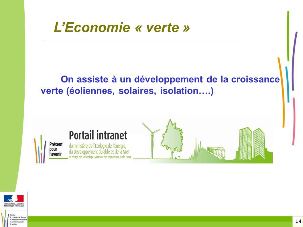 toitototototoot L'Economie « verte » On assiste à un développement de la croissance verte (éoliennes, solaires, isolation….)
