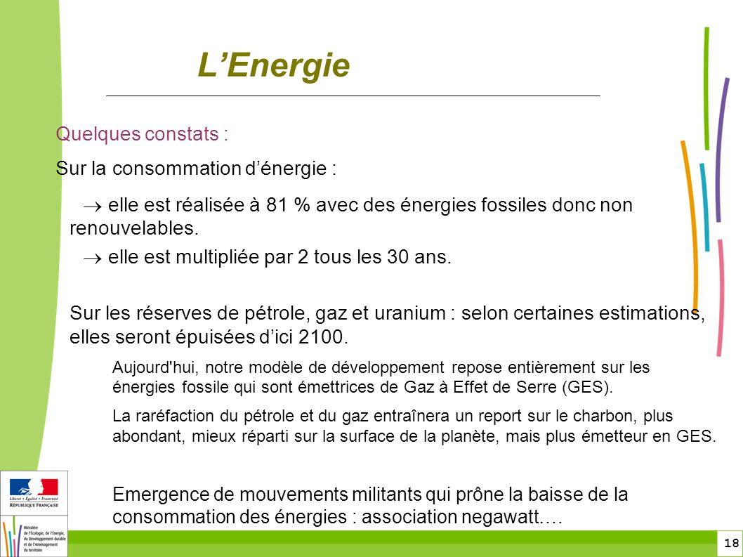 L'Energie Quelques constats : Sur la consommation d'énergie :