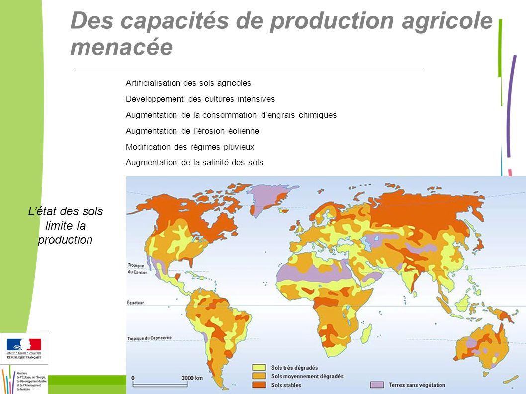 Des capacités de production agricole menacée