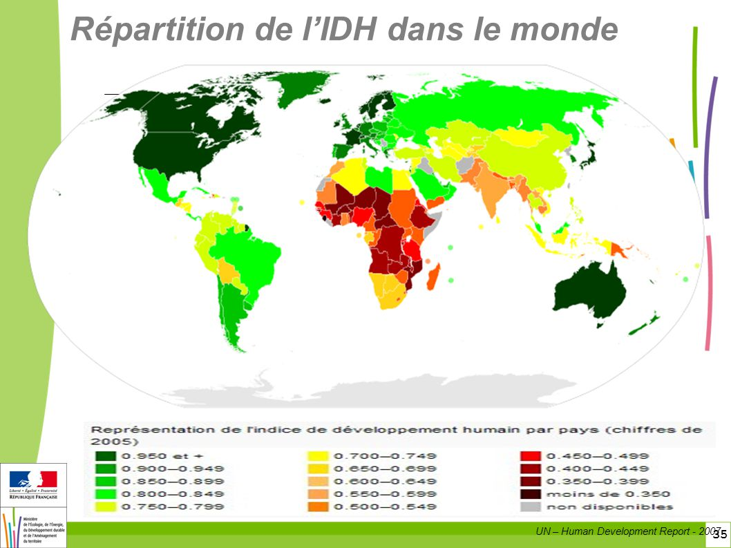 Répartition de l'IDH dans le monde