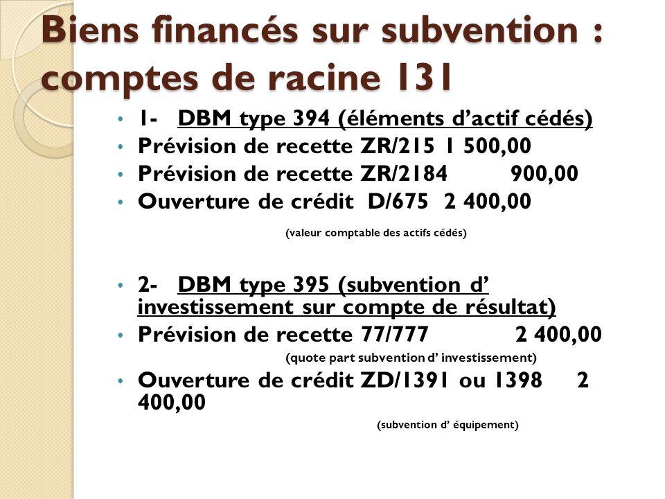 Biens financés sur subvention : comptes de racine 131