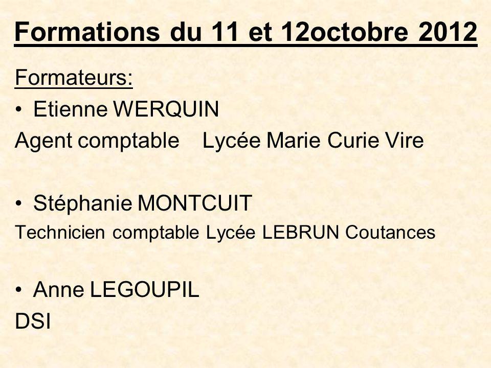 Formations du 11 et 12octobre 2012