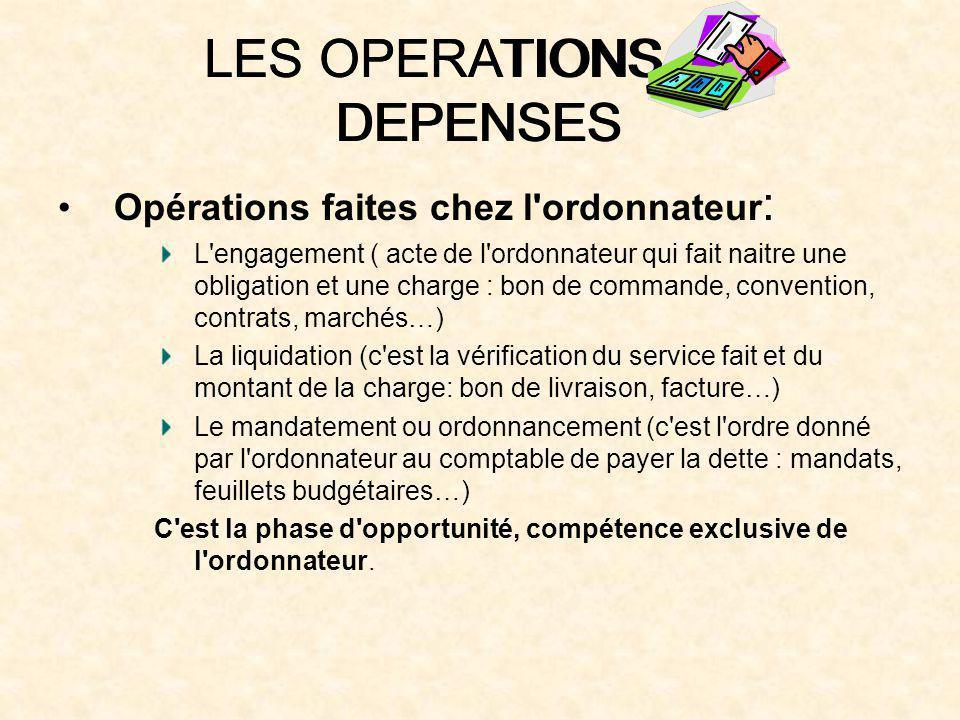 LES OPERATIONS DE DEPENSES