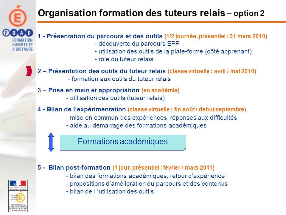 Organisation formation des tuteurs relais – option 2