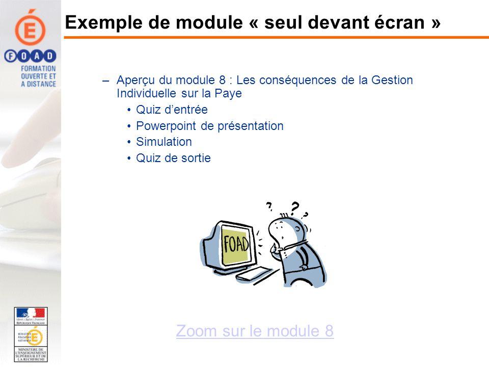 Exemple de module « seul devant écran »