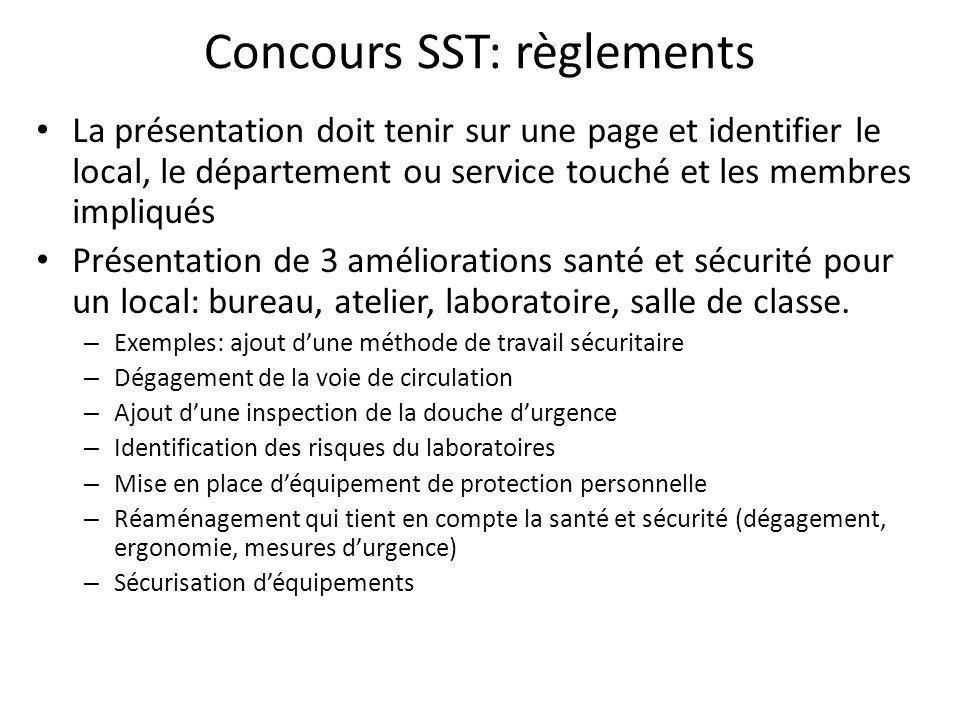 Concours SST: règlements