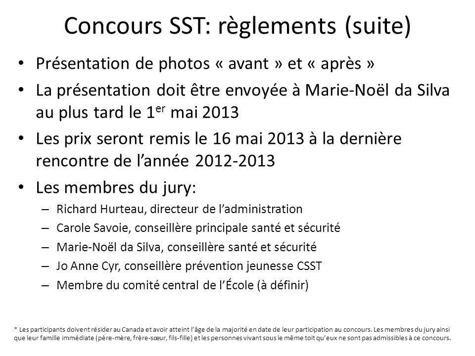 Concours SST: règlements (suite)