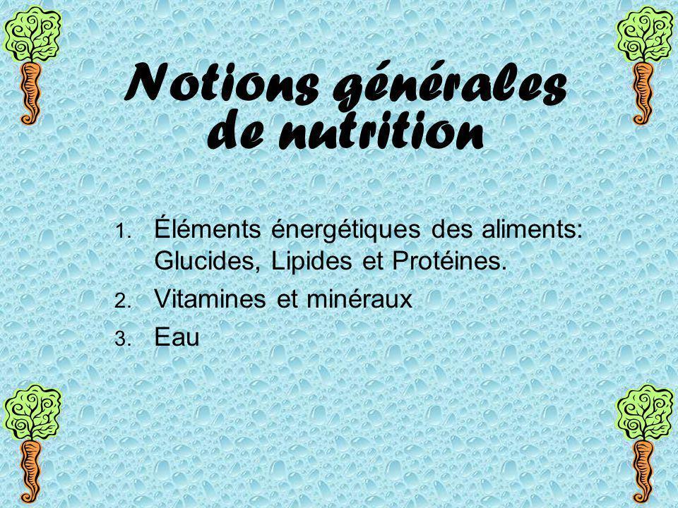Notions générales de nutrition