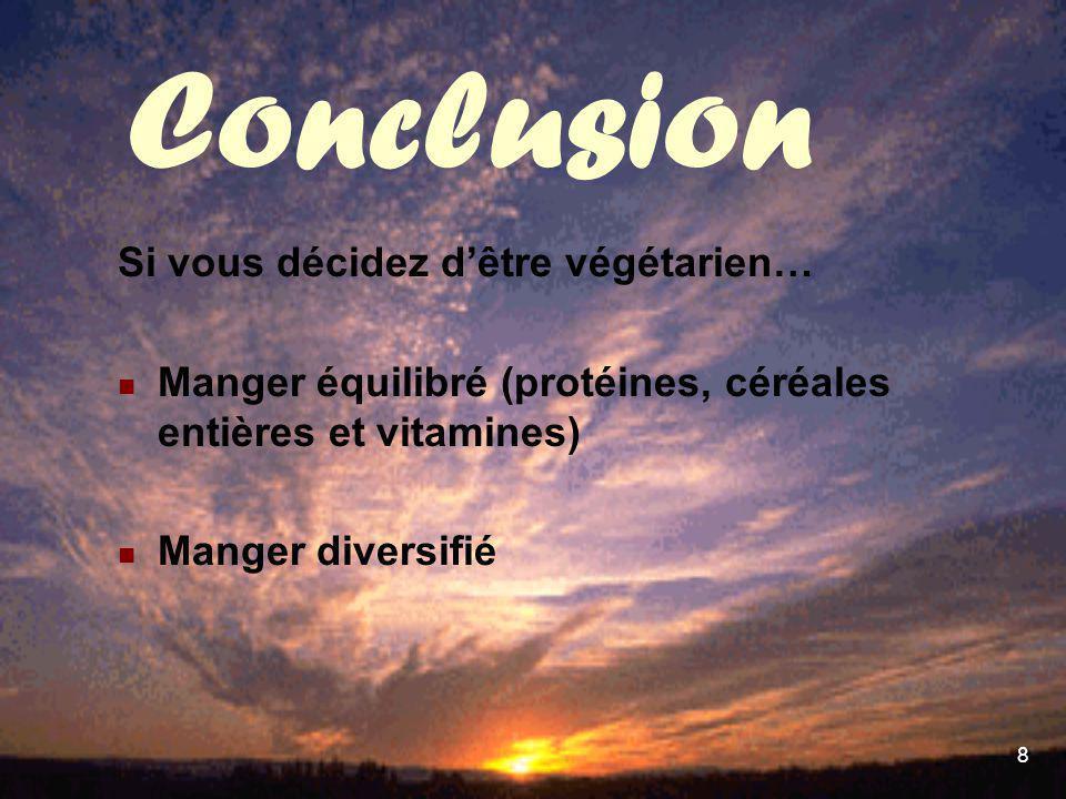 Conclusion Si vous décidez d'être végétarien…