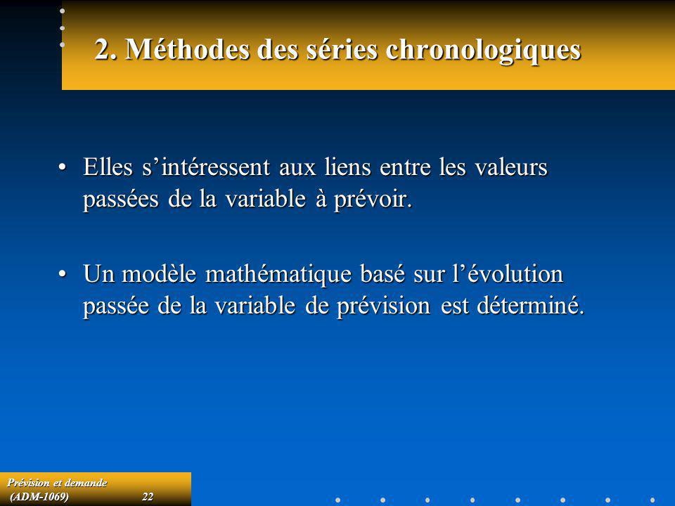2. Méthodes des séries chronologiques