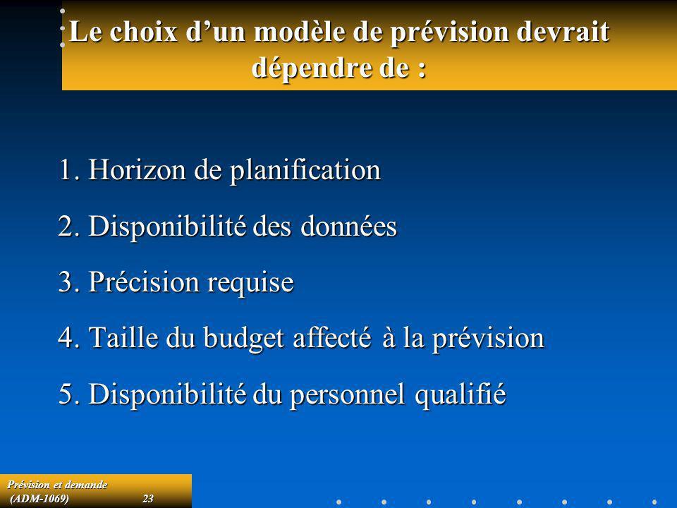Le choix d'un modèle de prévision devrait dépendre de :