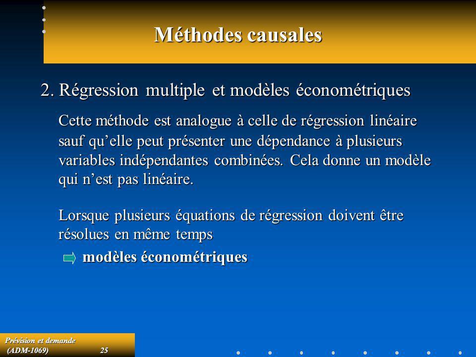 Méthodes causales 2. Régression multiple et modèles économétriques.