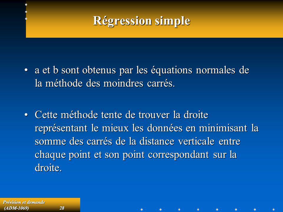 Régression simple a et b sont obtenus par les équations normales de la méthode des moindres carrés.