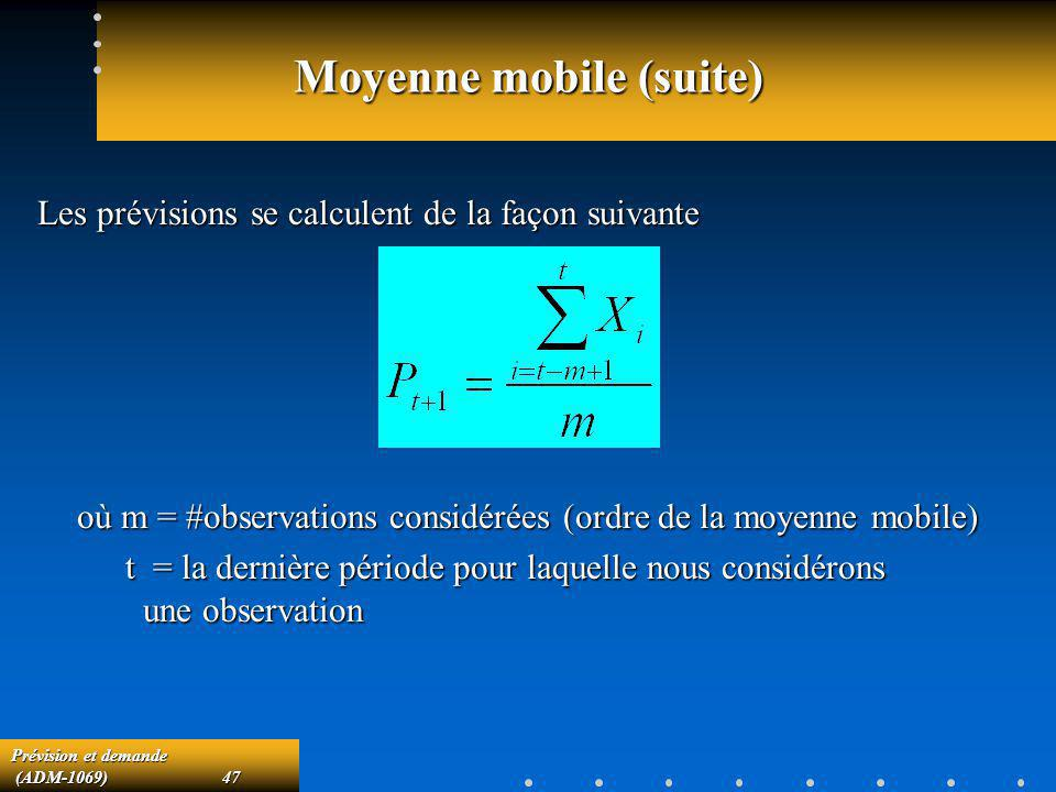 Moyenne mobile (suite)