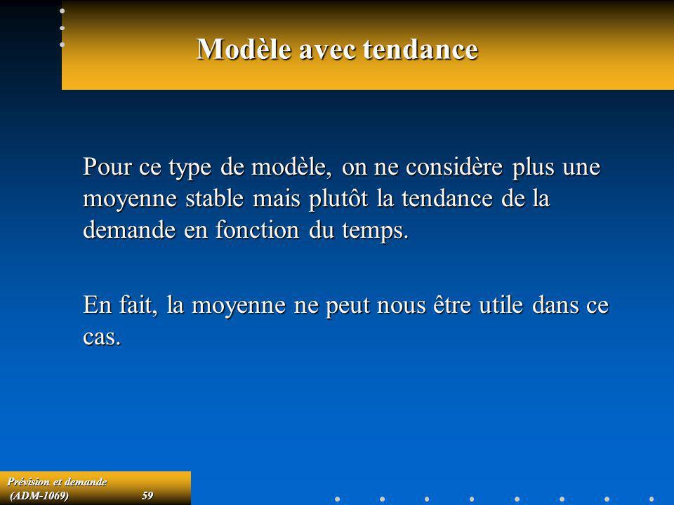 Modèle avec tendance Pour ce type de modèle, on ne considère plus une moyenne stable mais plutôt la tendance de la demande en fonction du temps.