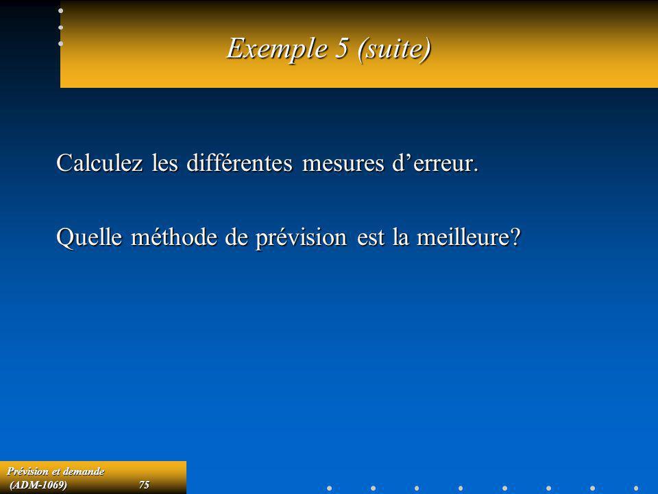 Exemple 5 (suite) Calculez les différentes mesures d'erreur.