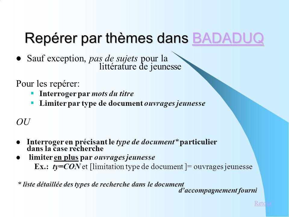 Repérer par thèmes dans BADADUQ
