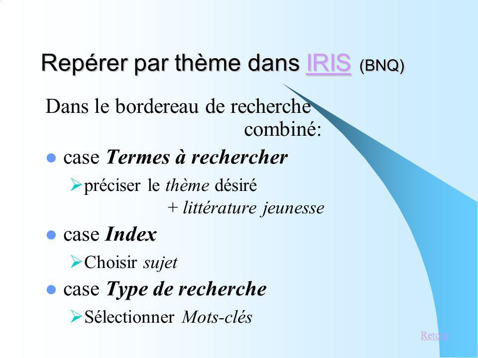 Repérer par thème dans IRIS (BNQ)
