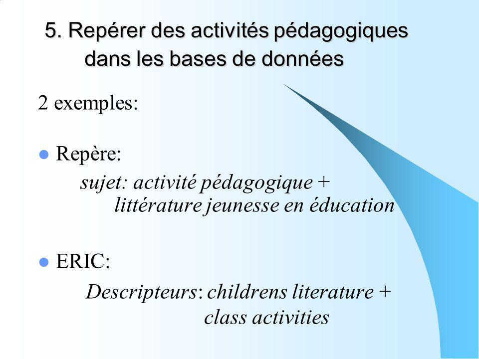 5. Repérer des activités pédagogiques dans les bases de données