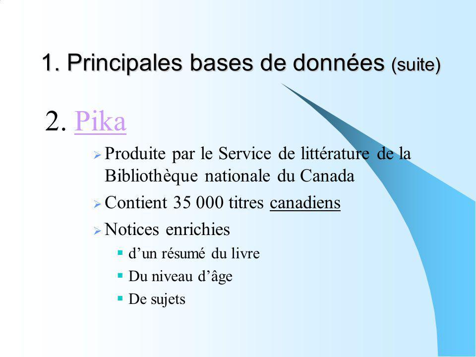 1. Principales bases de données (suite)