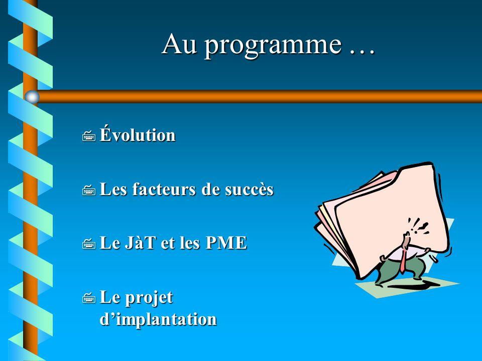 Au programme … Évolution Les facteurs de succès Le JàT et les PME